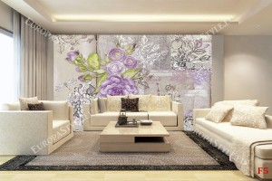Фототапети ретро картичка с лилави рози във винтидж стил
