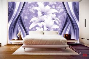 абстракт със сфери и лилиум в лилаво и бяло