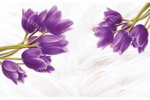 лилави лалета на нежен фон с пера