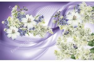 композиция от цветя и бял люляк на два цвята фон