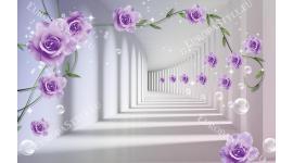 3д тунел с лилави рози с ефектни балончета