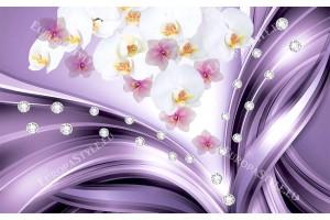 лилави вълни с цветя и диаманти