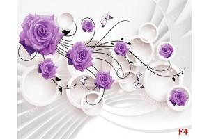 Фототапет лилави рози 3д стена кръгове