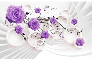 Фототапет размер 250 см-165 см - 3д ефект с лилави рози