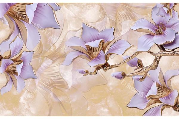 3д порцеланови лилави цветя на мазилкова основа