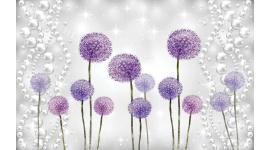 Фототапети лилави рисувани глухарчета модел с перли