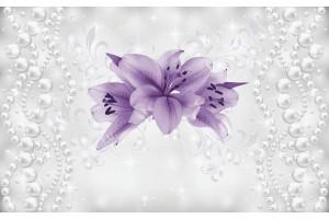 Фототапети лилави цветя модел с нежни перли абстракт