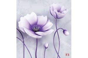 Фототапет релефни 3д цветя тройка във 2 цвята