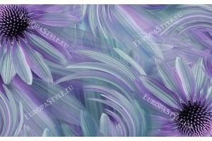 Фототапет големи маргарити цветна комбинация от лилаво и тюркоаз