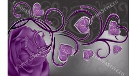 Фототапет абстракция  рози и лилави сърца