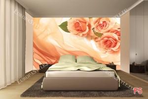 Фототапети оранжеви рози върху коприна