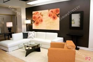 Фототапети оранжеви рози винтидж стил с ноти