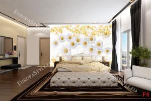 Фототапети композиция с бели маргарити фон пера