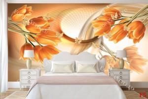 Фототапети абстракт от оранжеви лалета и пеперуди