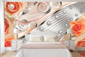 модерна абстракция с оранжеви рози металик