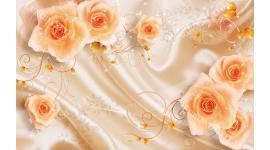 Фототапети 3Д ефект рози върху коприна с орнаменти