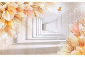 Фототапети триизмерен ефект тунел с оранжеви цветя