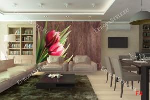 Фототапети розови лалета на дървена основа