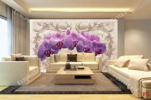 Фототапети лилава клонка орхидея с орнаменти бежов фон