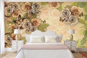 Фототапети ретро композция с романтични и златисти рози