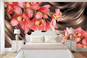 орхидея клонка корал на кафяв ефектен фон