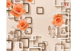 Фототапети 3d композиция стена бежова кубове с рози в 2 цвята