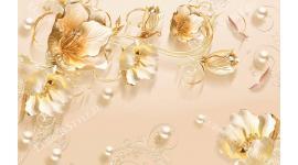 Фототапет златисти цветя с декорация от бели перли