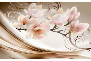 Фототапет нежно розова клонка магнолия с орнаменти в бежаво