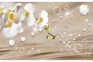 Фототапет клонка бяла орхидея на бежов фон с диаманти