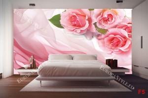 Фототапети розови рози върху коприна