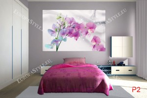 Фототапет клонка цветни орхидеи нежна коприна фон