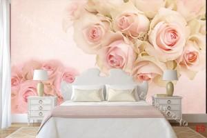 Фототапети розови бледи рози с орнаменти