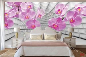 Фототапети розови орхидеи на фон 3д тунел сив
