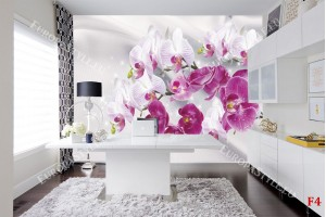 Фототапети клонки бели и розови орхидеи фон коприна