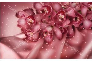 Фототапети тъмно коралова орхидея със светлини