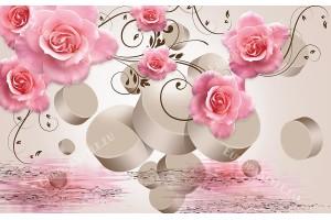 композиция с розови рози и 3д елементи