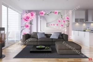 3д тунел с розови рози с ефектни балончета