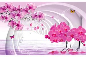 Фототапети 3D тунел с розови орхидеи и клонка магнолия