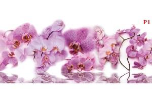 микс от различни орхидеи клонки с водно отражение