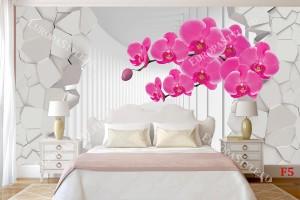 Фототапети 3д ефект на тунел разбита стена и клонка орхидея 2 цвята