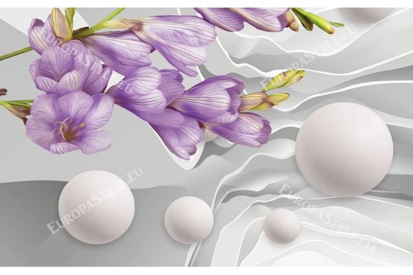 абстракт рисувано цвете 3д ефект стена със сфери в 2 цвята