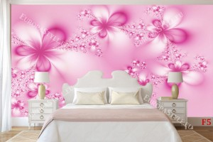 Фототапет кристални цветя в розово