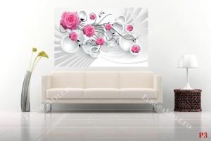 Фототапет розови рози 3д стена кръгове