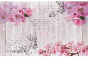 Фототапет винтидж модел на основа дърво с пролетен цвят