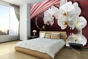 Фототапети бели орхидеи с водно отражение тъмно розов фон