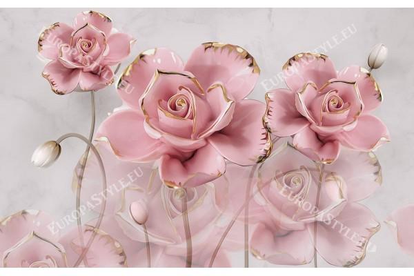 Фототапети розови цветя с нежно отражение