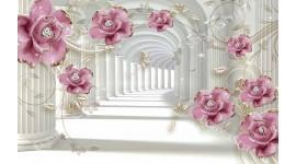 Фототапети тунел- колони с 3д ефектни цветя от порцелан в 2 цвята