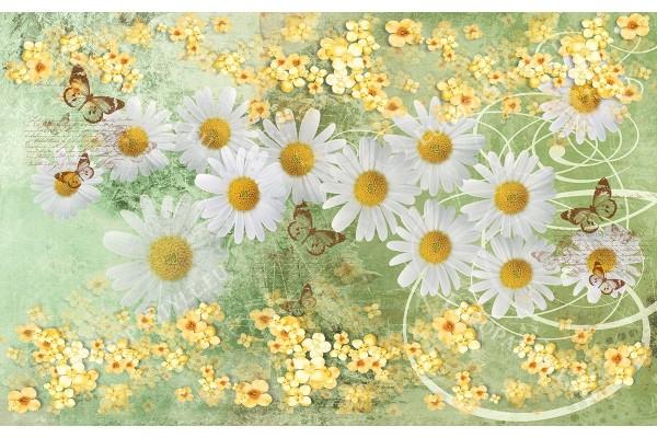 Фототапет винтидж композиция с бели маргарити в зелено