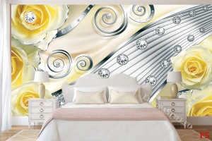 модерна абстракция с жълти рози металик
