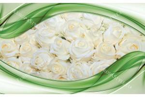 Фототапети прекрасни рози в цветна рамка със и без пеперуди